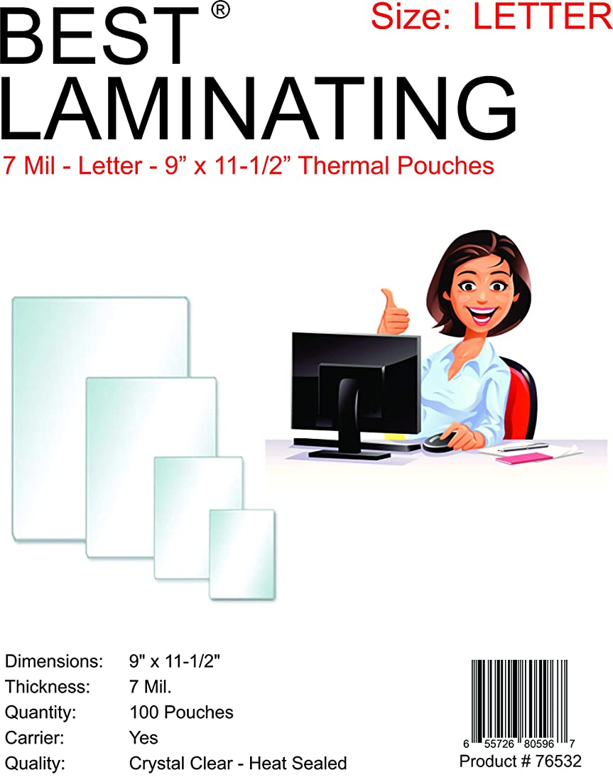 Best Laminating 7 Mil Clear Letter Size Thermal Laminating Pouches - 9