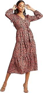 Animal Print V Neck Midi Women's Dress with Self Tie Belt