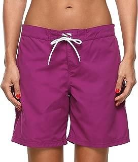 Women Board Shorts Swim Trunks Drawstring Tummy Control High Waist Swim Bottoms