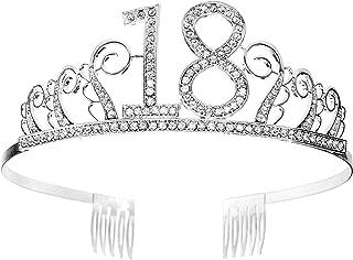 Tiara Cumpleaños Corona 18TH con Peine Artículos de Fiesta y Decoraciones Accesorios Plata Cristal Diademas Mujer Princesa...