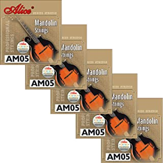 5 Sets Alice Stainless Steel Coated Copper Alloy Mandolin Strings Medium 11-40, AM05 (.011 .015 .026 .040)