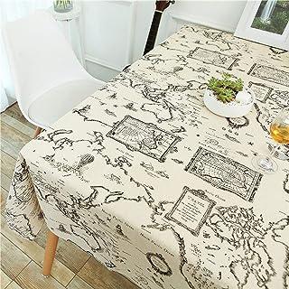 YUANYOU, tovaglia in cotone e lino, motivo di stampa cartina, tovaglia per ristorante e casa, tovaglia rettangolare per ma...