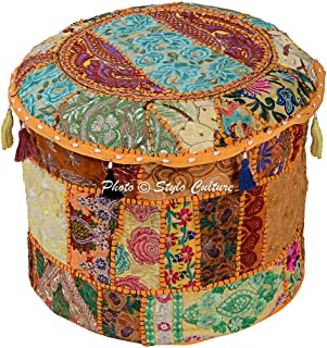 "Stylo Culture Cotton Tuffet Hassock 16"" Patchwork Embroidered Ottoman Stool Pouf Cover Yellow Floral Footstool Floor Cushion Ethnic Decor Bean Bag Living Room"
