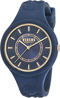 Versus by Versace Women's FIRE Island Quartz Watch with Silicone Strap, Blue (Model: SOQ090016)