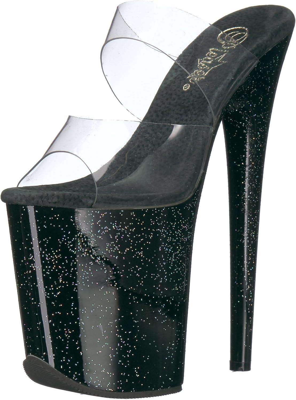Pleaser Women's Flamingo-802MG Sandal Clear Black
