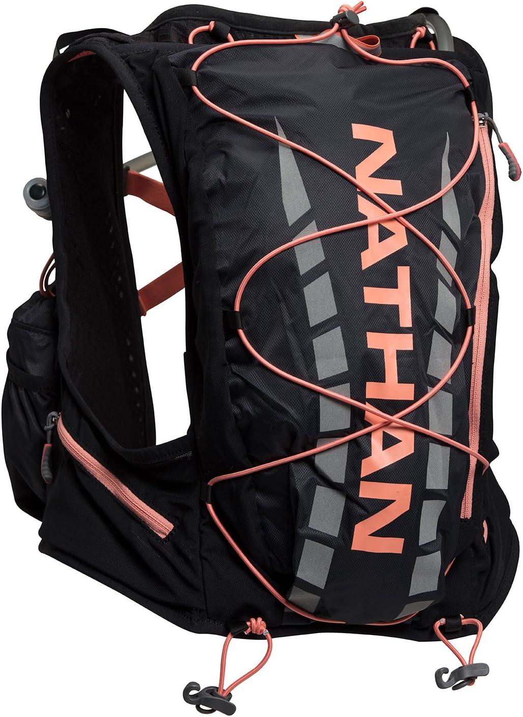Nathan NS4527 Vaporairess Trinkrucksack Laufweste mit 2 l Blase XX-Small NS4527 Damen Black//Fusion Coral