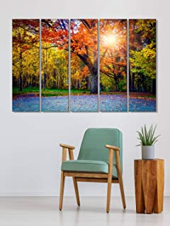 999Store wall frame living room decoration Autum trees forest wall art panels hanging painting Set of 5 frames (130 X 76 Cm)