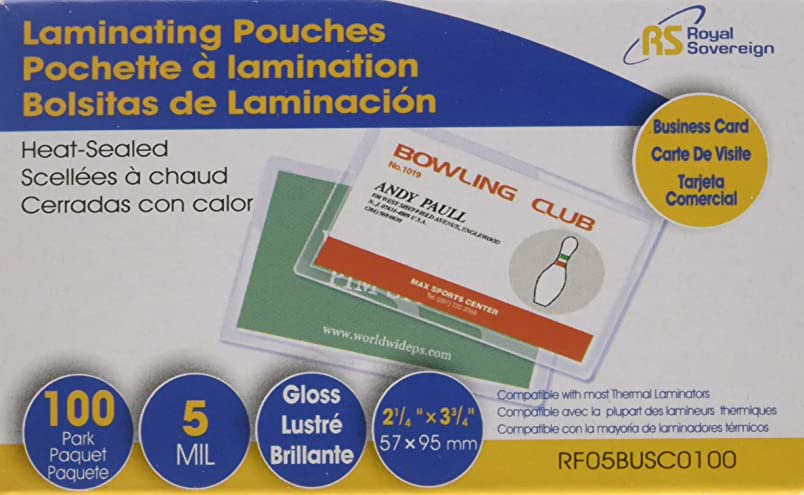 """Royal Sovereign Business Card Sized,  2 ? """" x 3 ? """" Thermal Laminating Pouches, 5 Mil. Thick, 100 Pack (RF05BUSC0100) jh485684882"""