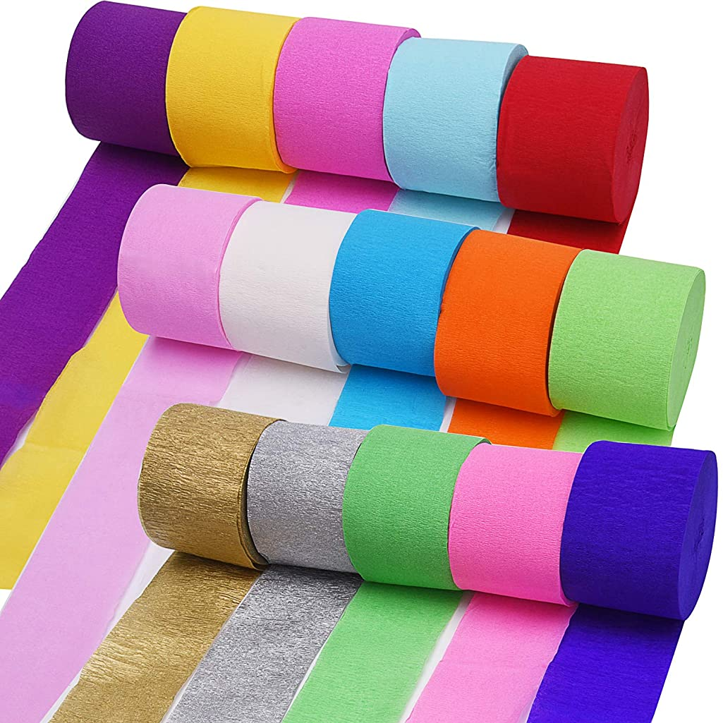 Livder 15 Rolls 410 Yard Party Streamers Backdrop Decorations Crepe Paper Rainbow Streamers 1.8 Inch W x 27 Yard/Roll for Photo Booth Backdrop Birthday Holiday Wedding Festival Party Celebration