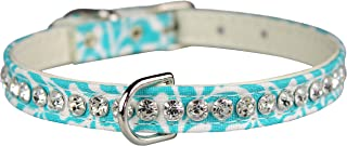 """OmniPet Majestic Plume Pattern Crystal Pet Collar, 3/8"""" x 10"""", Turquoise"""