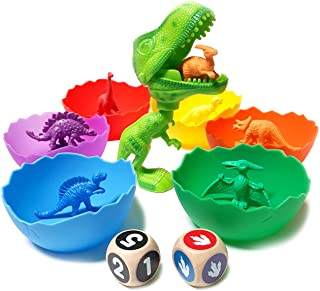 Jumbo Sorting & Counting Dinosaurs Matching Game - Educational Dinosaur Toys for 2 3 4 5 Year Olds with 54 Math Manipulati...