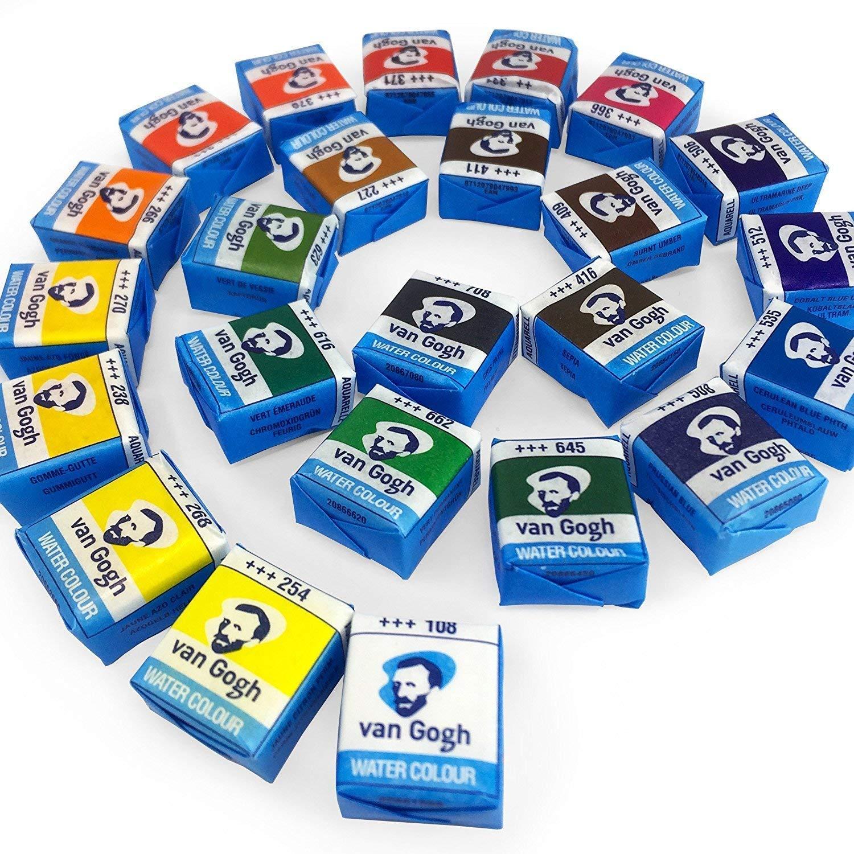 Estuche Pocket Box 24 Acuarela Van Gogh,24 color set plastic case case Van Gogh watercolor solid: Amazon.es: Juguetes y juegos