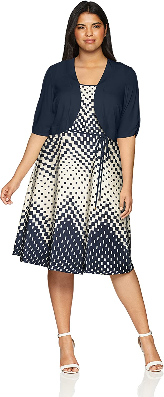 Sandra Darren Womens 2 Pc Plus Size Elbow Sleeve Jacket Dress Set Business Casual Dress
