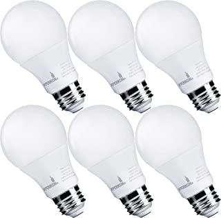 Hyperikon LED Light Bulbs A19 60 Watt Equivalent LED Bulbs, 9W, 4000K Daylight, Non-Dimmable, UL, 6 Pack