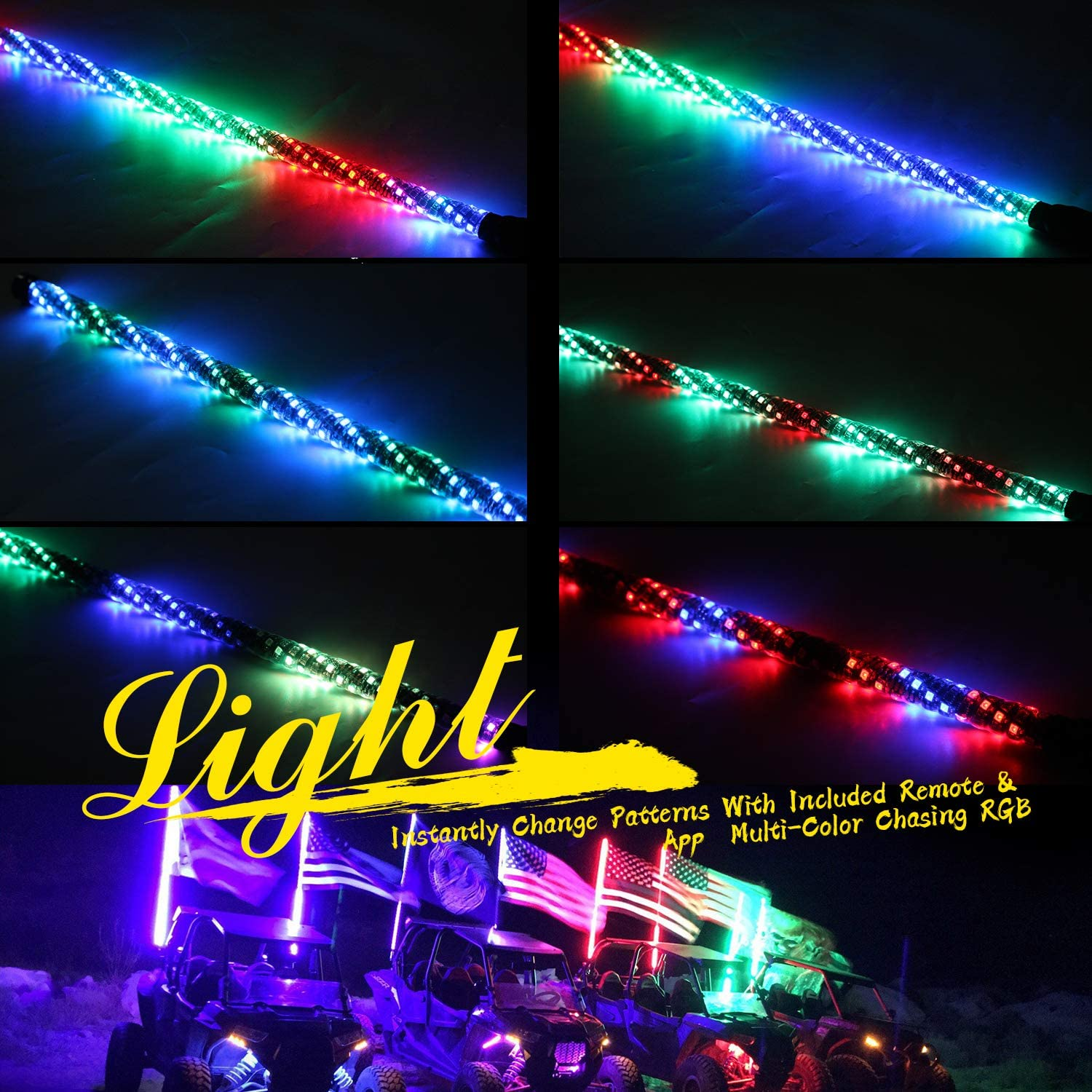 lighted whips With Dacning//Chasing and Can Controlled by remote and app Simultaneously with Lock Function 0.9M Yewhis 2PCS 3FT