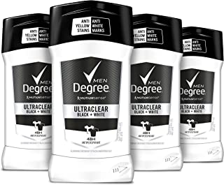 Degree Men UltraClear Antiperspirant Protects from Deodorant Stains Black + White Mens Deodorant 2.7 oz, 4 Count