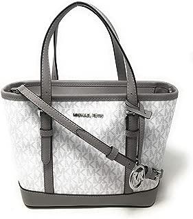 Michael Kors Jet Set Travel Leather XS Top Zip Tote Satchel Bag Optic White