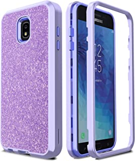 AMENQ Case for Galaxy J7 Star/Samsung J7 Crown S767VL/J7V 2nd Gen/J7 Aura/J7 2018 J737/J7 Refine/J7 Top/J7 Aero Heavy Duty Sparkle Glitter Design with TPU Bumper and PC Back Phone Cover (Purple)