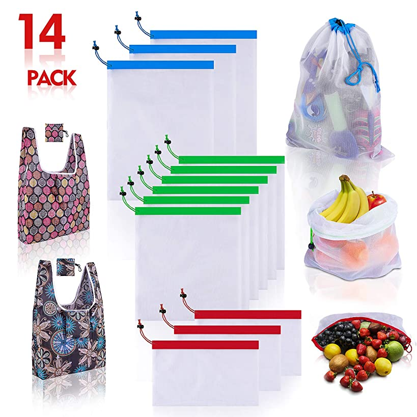 Reusable Produce Bag, 3 Size Lightweight Mesh Bags with Drawstring & Shopping Grocery Bags 14 Pack