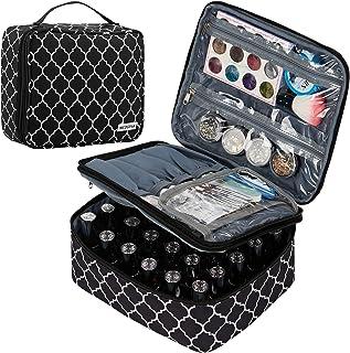 NICOGENA Double Layer Nail Polish Organizer and Manicure Set Case,Holds 30 Bottles (15ml-0.5 fl.oz),Secure Soft Storage Cube Bag,Lantern Black