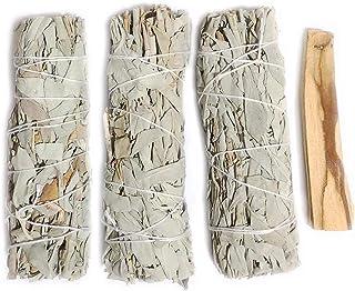 Mamalaima Premium California White Sage 5 Inch Smudge Sticks 3 Pack, and Palo Santo Stick. Replenishment Altar Kit Set. fo...