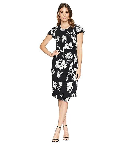 IVANKA TRUMP Cap Sleeve Floral Shift Dress, Black/Ivory