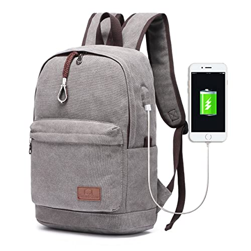 7695800dfb Travistar Men Canvas Backpack School Backpack - 15 inch Laptop Backpack  with USB Charging Port Perfect