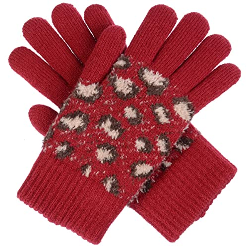 ad815bb6b05 BYOS Winter Cute Wild Leopard Pattern Ultra Warm Soft Plush Faux Fur Fleece  Lined Knit Gloves