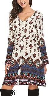 SE MIU Women Print Boho A Line Sleeves T-Shirt Loose Above Knee Dress, White, XL