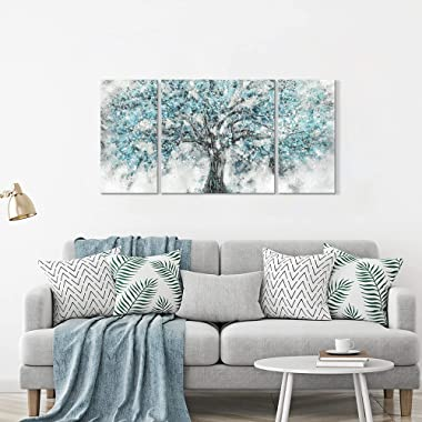 """Abstract Tree Canvas Wall Art: Teal Blue Maple Blossom Artwork Picture Painting on Canvas for Living Room ( Overall 64""""W"""