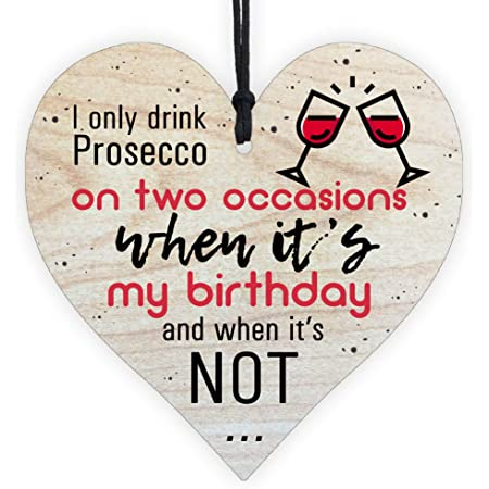 Prosecco Gin Hanging Wooden Heart Quote Drinking Present Gift For Him For Her