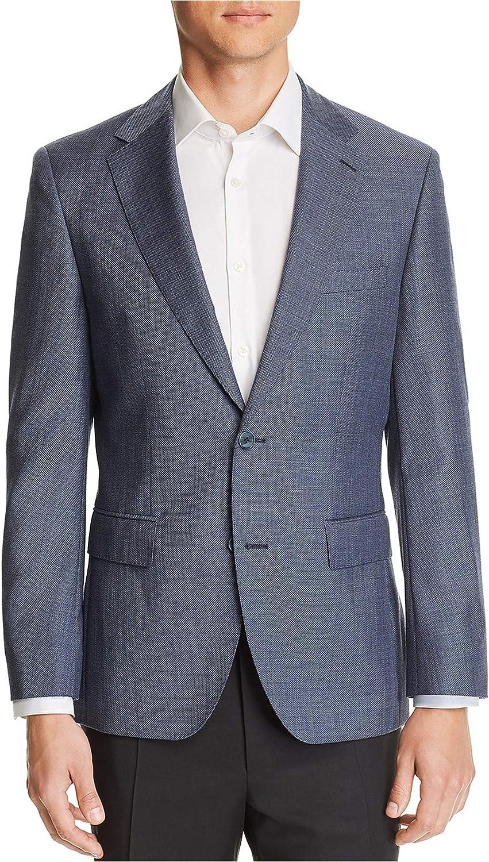 Hugo Boss Mens Hopsack Weave Two Button Blazer Jacket, Blue, 40 Long