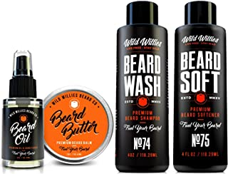 Supreme Beard/Mustache Grooming Kit for men - Every tool you need in one box to have perfect facial hair! Including Beard Oil, Beard Balm, Beard Wash & Beard Soft. For personal use or as a gift set.