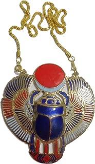 Scarab Beetle Necklace Pendanat Jewelry Xl Enameled Egyptian 102