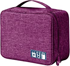 House of Quirk Electronics Accessories Organizer Bag, Universal Carry Travel Gadget Bag for Cables, Plug and More, Perfect Size Fits for Pad Phone Charger Hard Disk - Purple