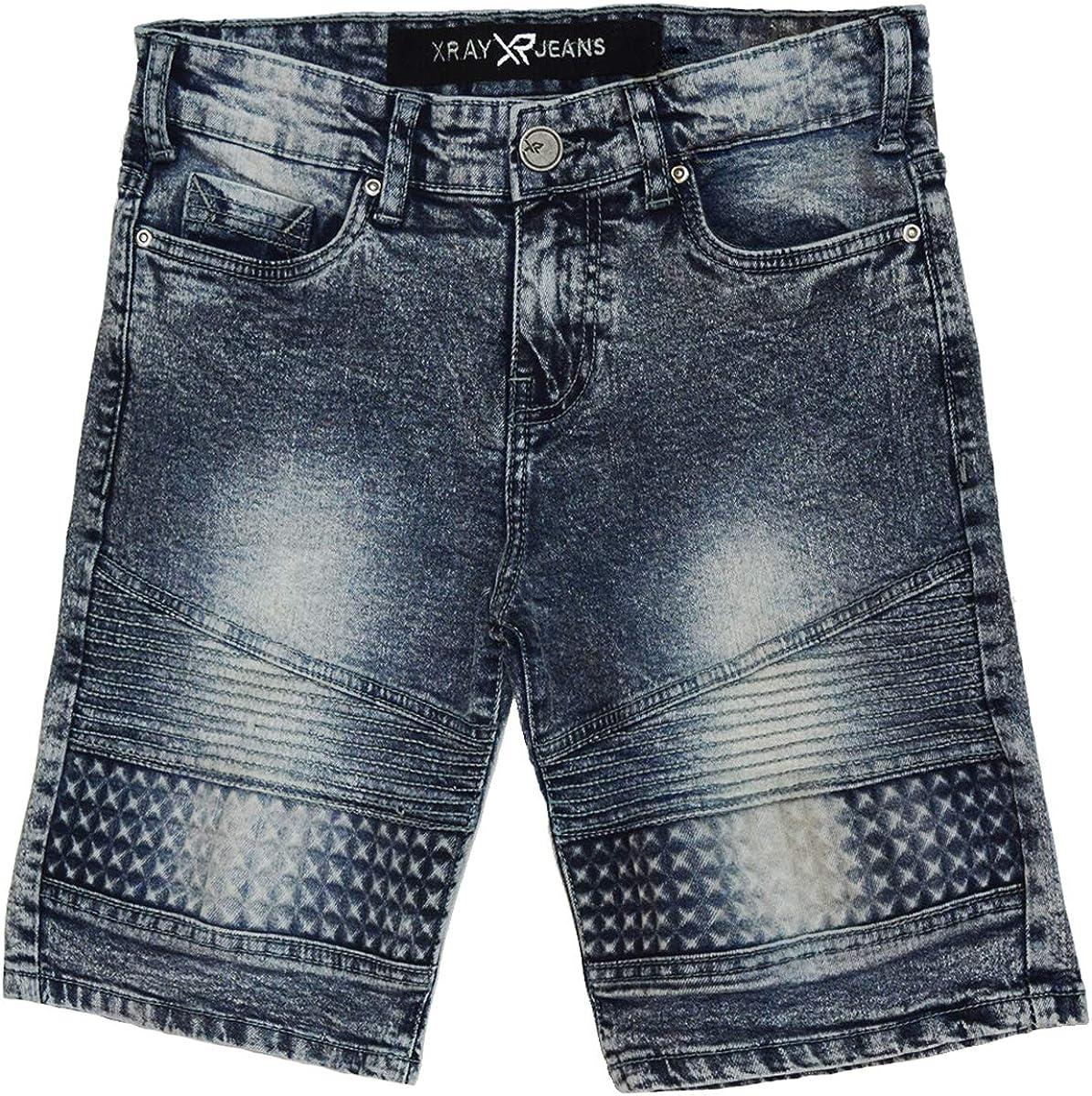X RAY Kids Moto Biker Jean Shorts Slim Fit Boys Denim Shorts Stretch Washed Distressed