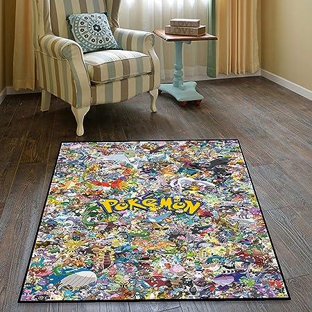HFDSG Tapis Dessin Animé Anime Pokemon Pikachu Chambre Salon Baie Fenêtre Tapis Enfant Tapis Rectangle Sol Sauvage Chambre Décoration Tapis