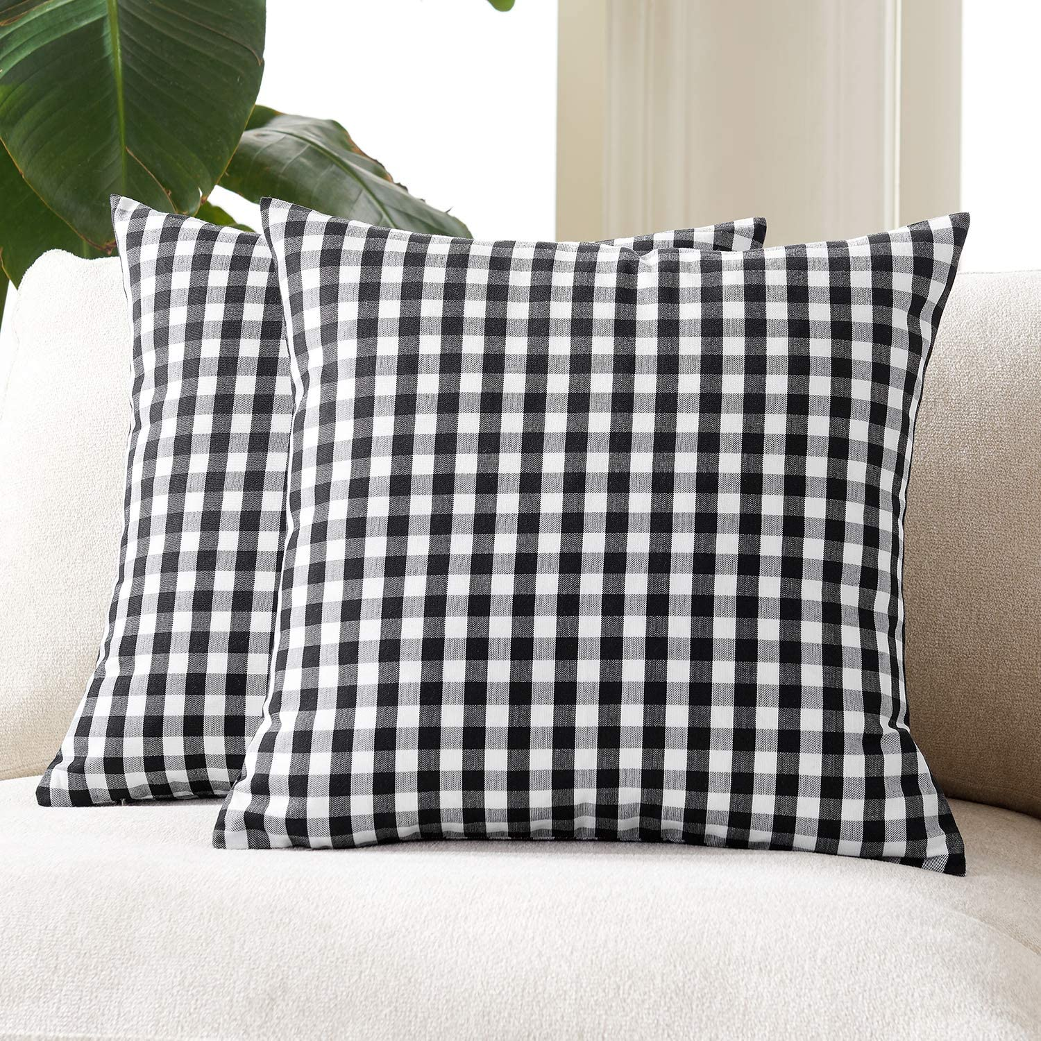 Very popular Foindtower Pack of 2 Farmhouse Pillow C Throw Decorative Gingham Daily bargain sale