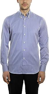 Dan Roma, Camicia Uomo, Esclusivo, Sport 2 Bottoni 100% Cotone, di Colore Bianco e Blu, Taglia: XL