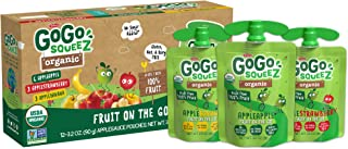 GoGo squeeZ Organic Applesauce, Variety Pack (Apple/Banana/Strawberry), 3.2 Ounce (12 Pouches), Gluten Free, Vegan Friendl...