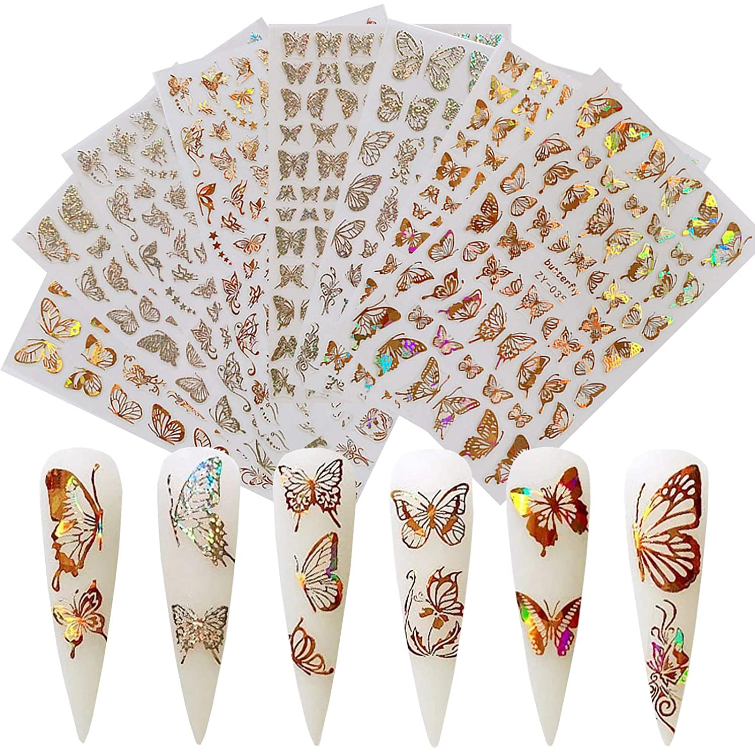 8 Sheets Product Butterfly Nail Art Accessories Sel Wholesale 3D Stickers