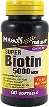 MASON NATURAL, Super Biotin 5000 mcg Softgels - 60 ea