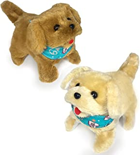Haktoys Flip Over Puppy Battery Operated Plush Dogs That Somersault Walk Sit and Bark - 2 Premium Quality Toy Puppies for ...