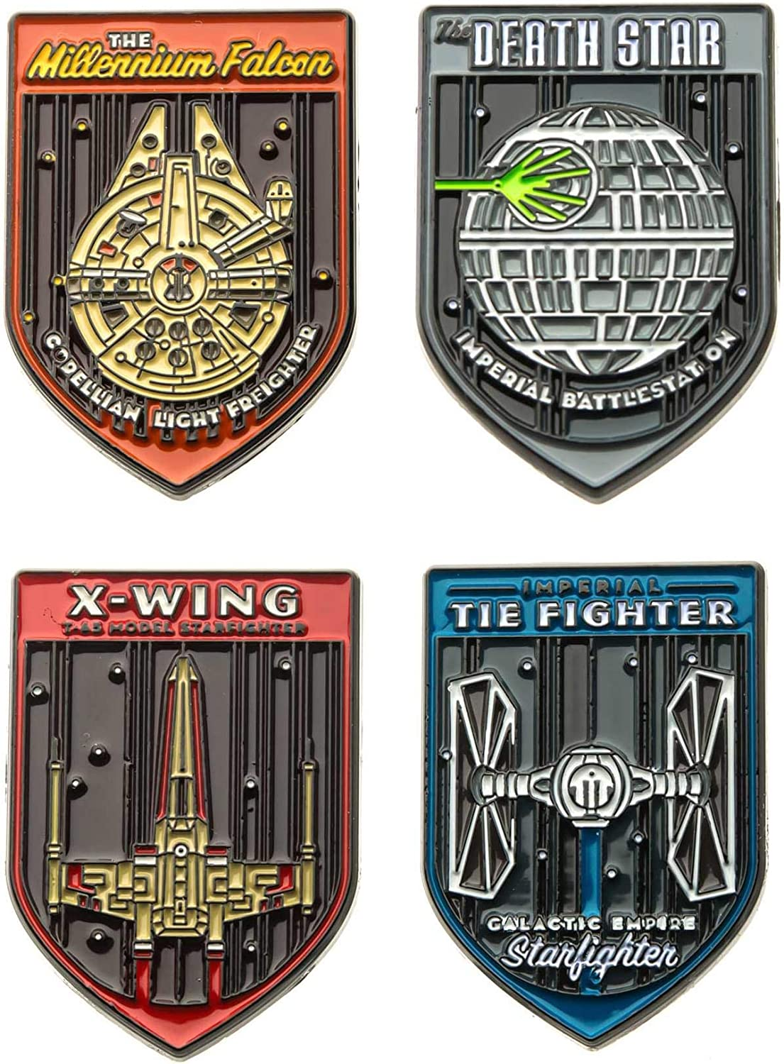 Star Wars Jewelry Unisex Adult Fighters Space Ships Base Metal Lapel Pin Set (4 piece), Multi Color, One Size