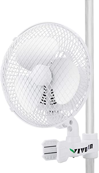 VIVOSUN 6 Inch Clip On Oscillating Fan Fit For 0 59 To 1 Inch Grow Tent Pole With 2 Speed Control