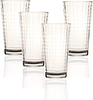 Circleware 44102 Matrix Heavy Base Highball Tumbler Drinking Glasses, 4-Piece Set, Home Party Entertainment Beverage Glassware Ice Tea Cups for Water, Juice, Milk, Beer, 15.75 Ounce, Windowpane