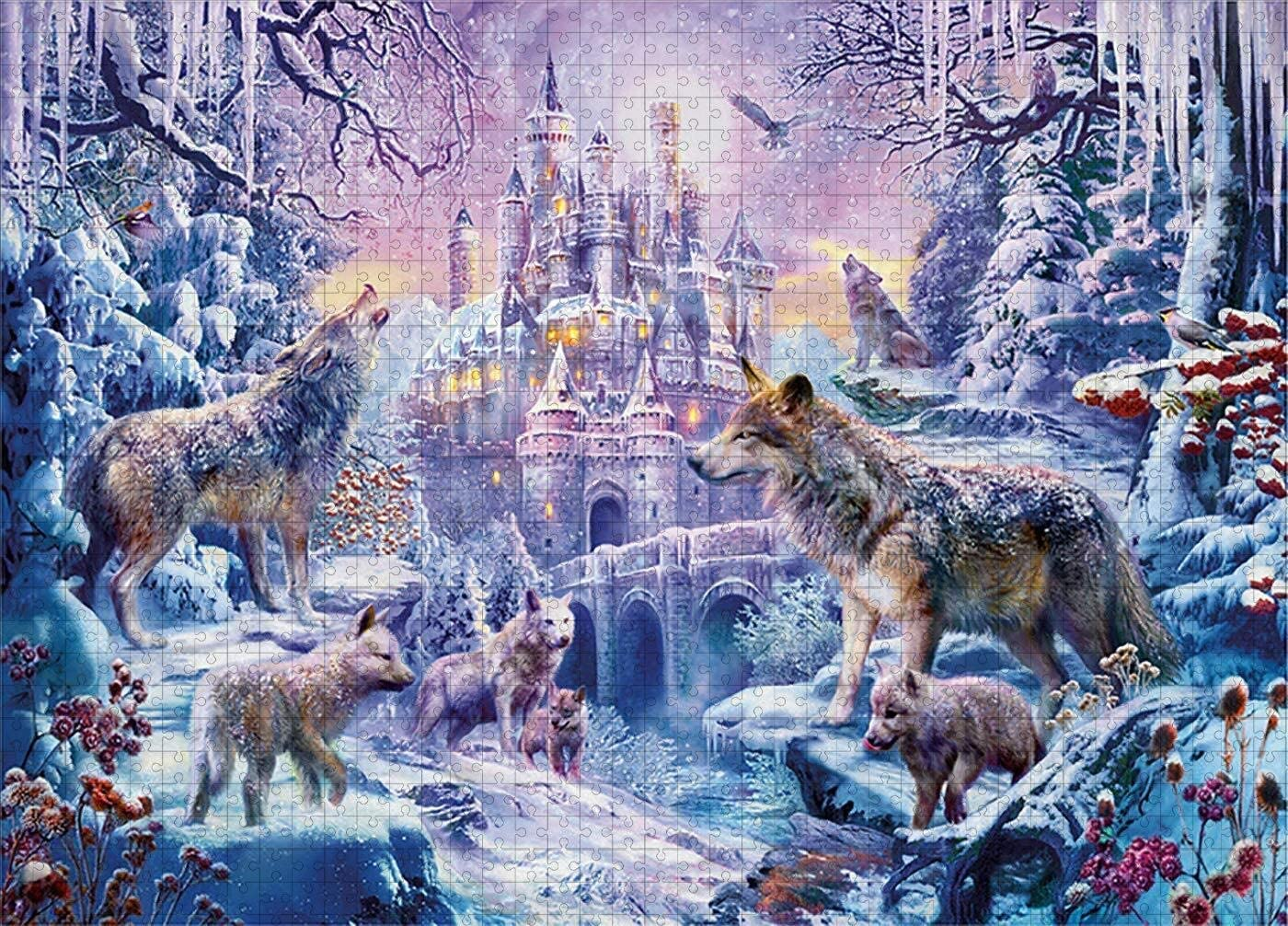 CEyyPD 1000 Stuks Puzzel For Adults DIY Houten Puzzel Gift, Drawing For Kids 75x50cm Educatief Spel (Color : Space) Wolf
