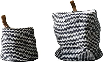 Creative Co-Op DA9793 Jute Wall Baskets in Black Stripes with Leather Loop