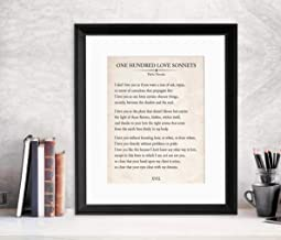 Arvier One Hundred Love Sonnets Vintage Book Page Literary Quote Art Print for Home Classroom or Library Available