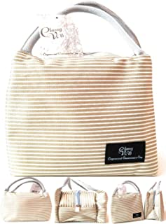 Classy V.iB - Lunch Bag - Tote - Bag Lunch Organizer - Lunch Holder - Lunch Container (Beige Design)